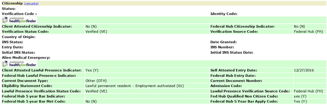 Screenshot of lawful presence attestation