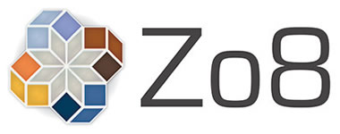 Zo8 logo with eight colored facets in orange and blue