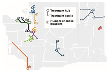 Map of hub and spoke treatment facilities in Washington