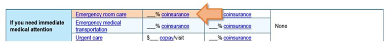 Screenshot of example plan with arrow pointing to emergency room services co-pay row